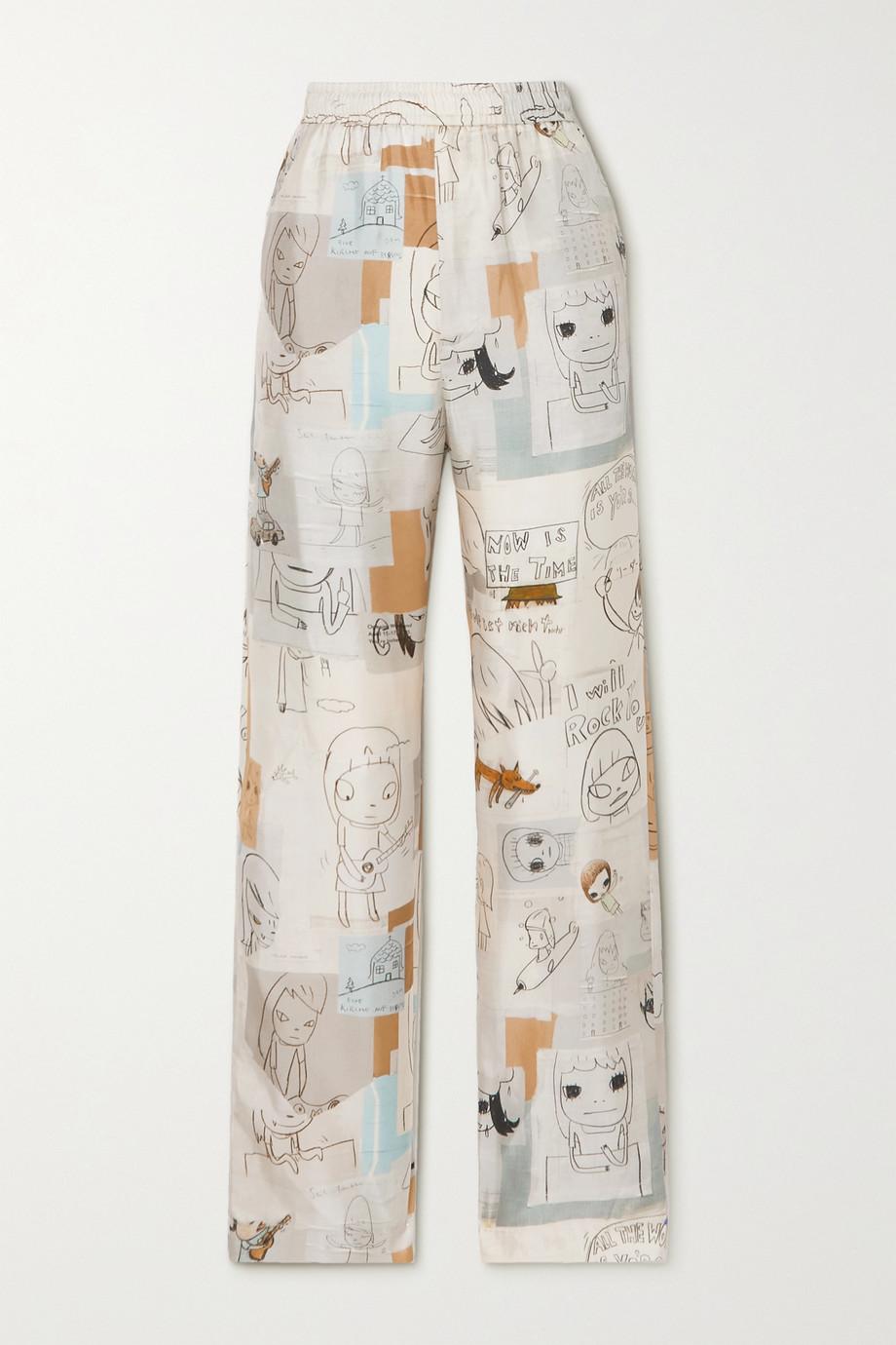 Stella McCartney + Yoshitomo Nara Tye Hose mit weitem Bein aus bedrucktem Seiden-Twill