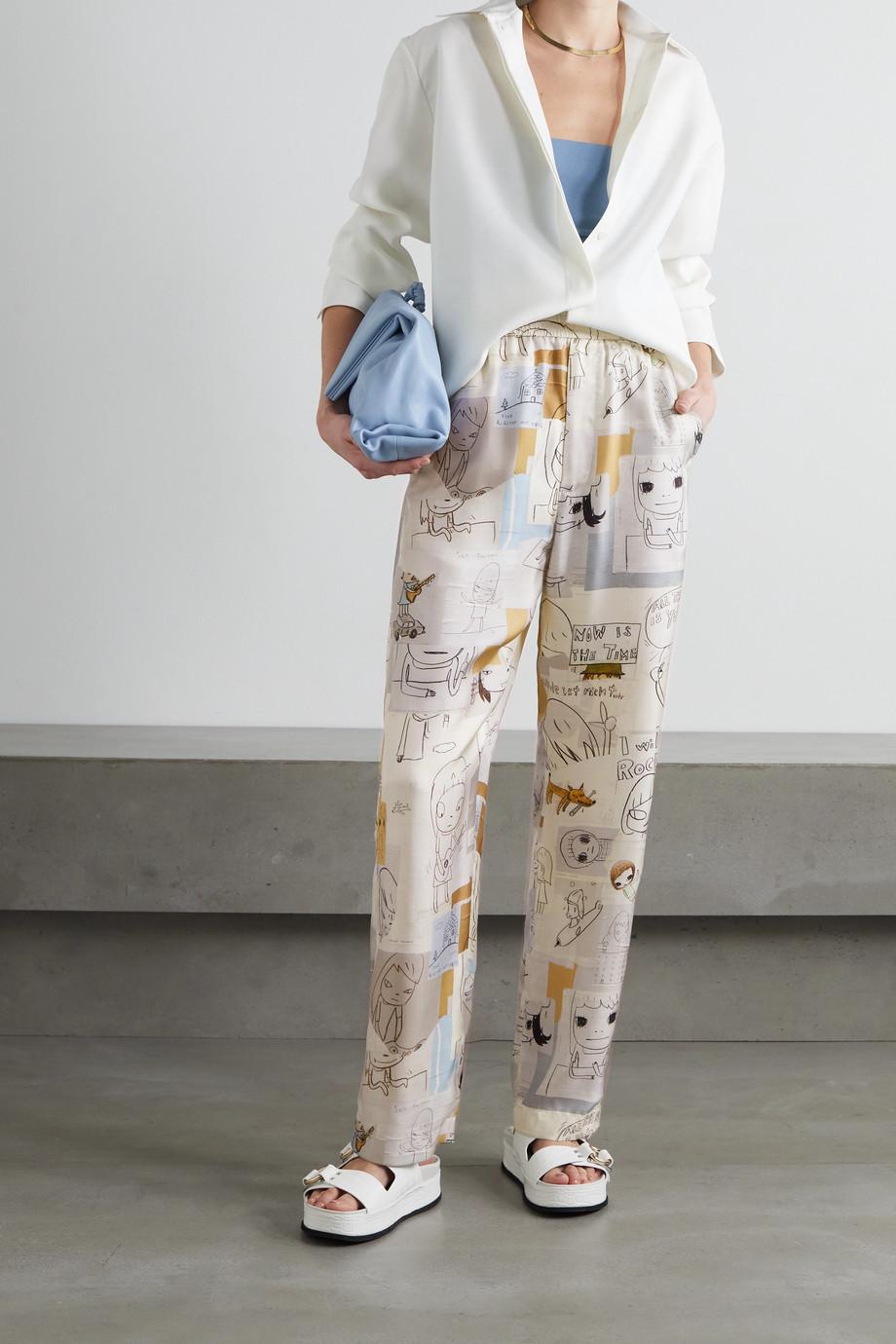Stella McCartney + Yoshitomo Nara Tye printed silk-twill wide-leg pants