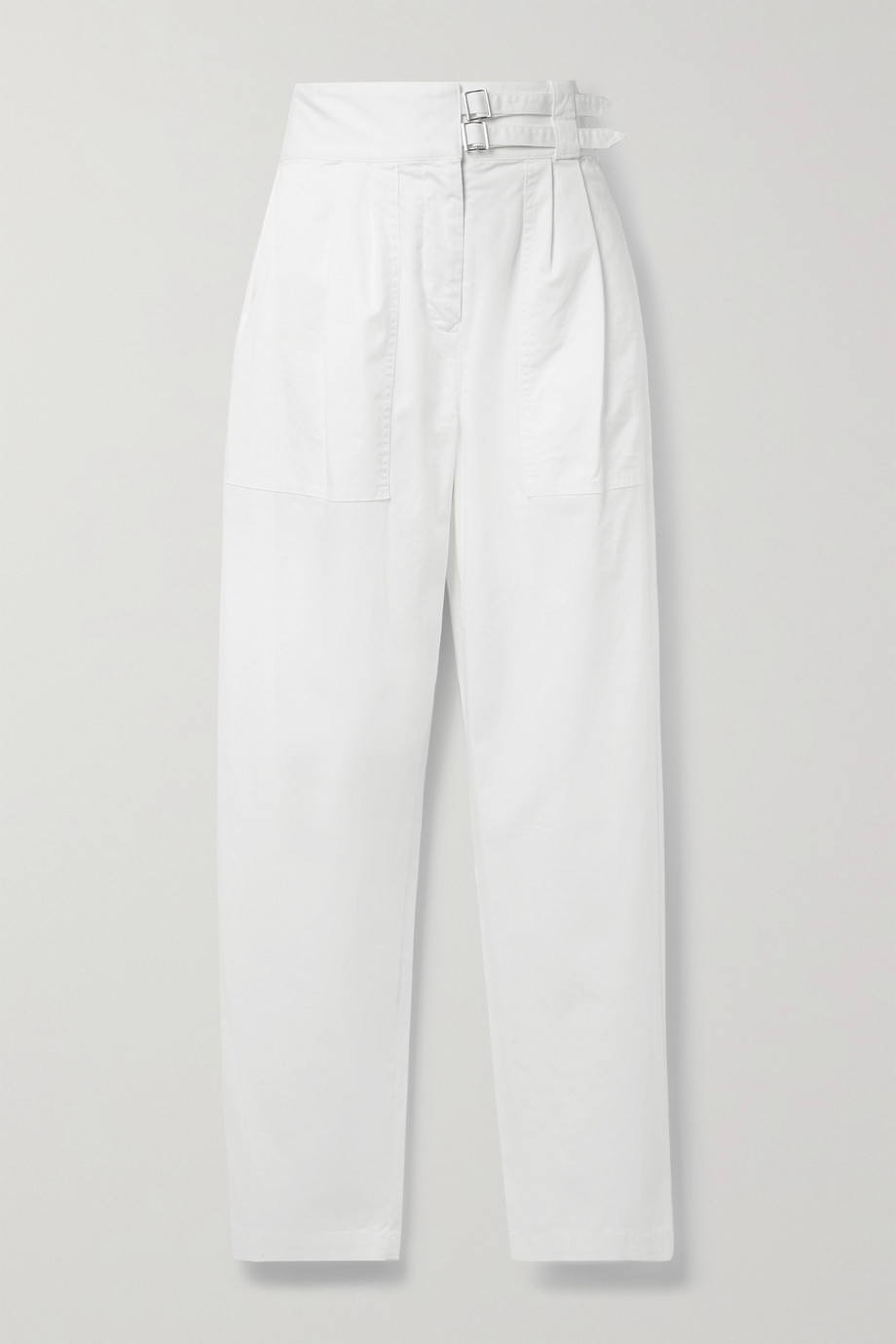 Nili Lotan Dallas belted pleated stretch-cotton poplin tapered pants