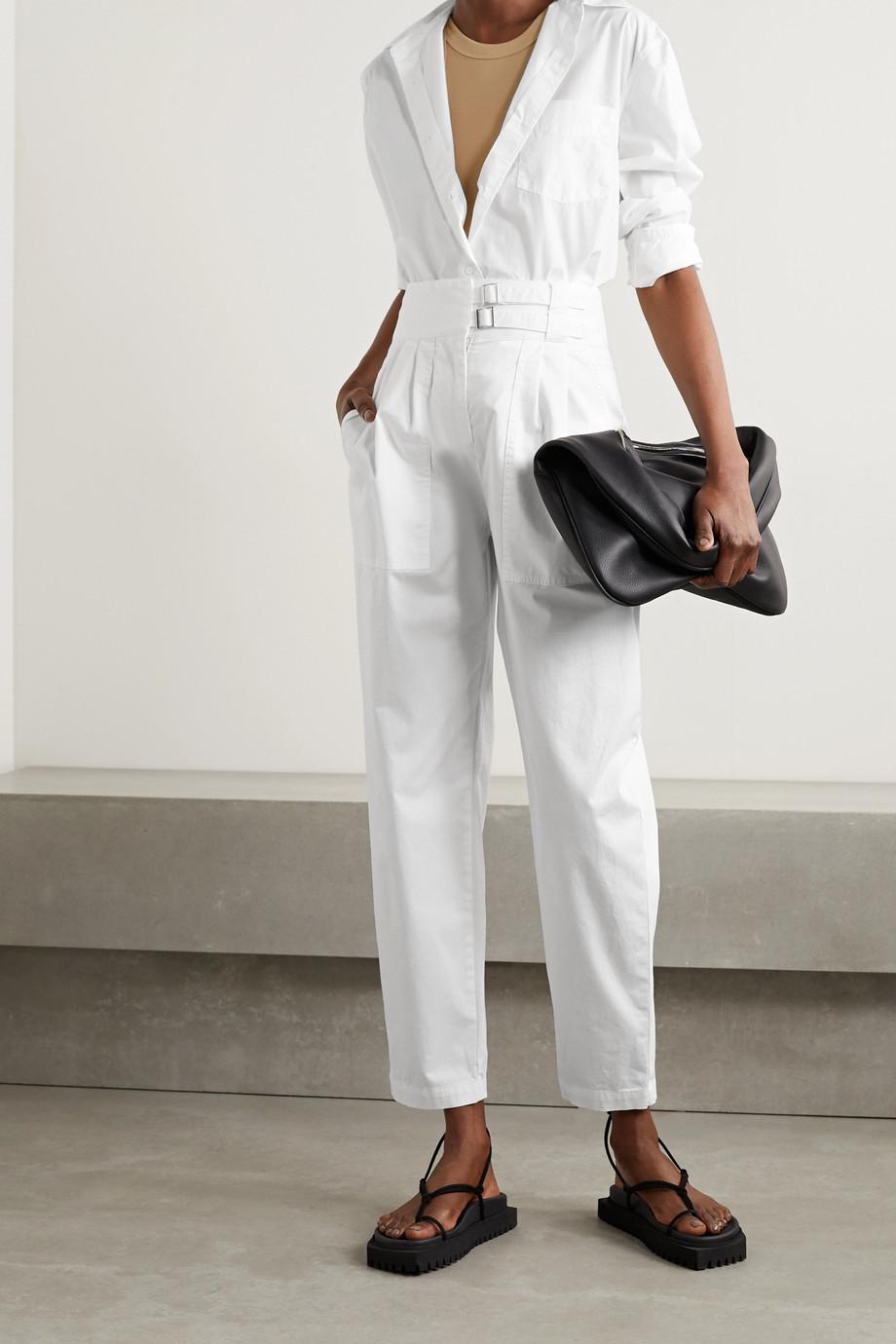 Nili Lotan Pantalon fuselé en popeline de coton stretch à plis et à ceinture Dallas