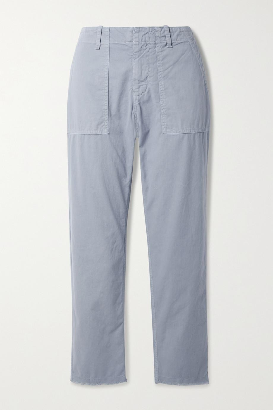 Nili Lotan Jenna cropped frayed cotton-blend twill straight-leg pants