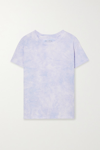 Nili Lotan Brady Distressed Tie-dyed Cotton-jersey T-shirt In Lilac