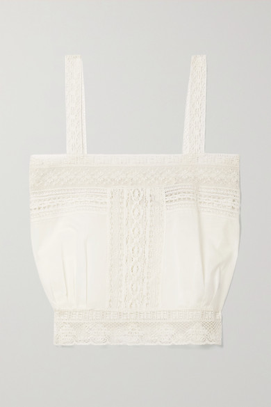 Nili Lotan Cottons PENNY CROPPED COTTON-VOILE AND LACE TANK