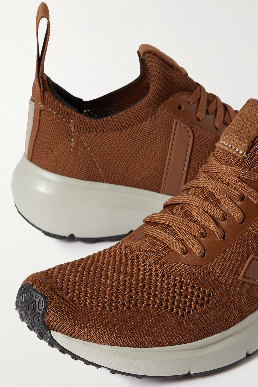 Rick Owens + Veja Low Sock rubber-trimmed V-knit sneakers