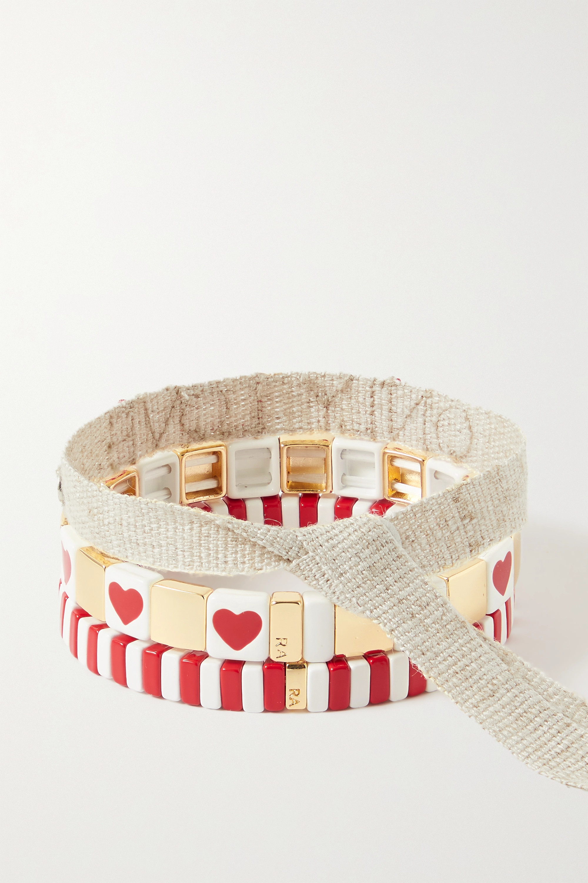 Roxanne Assoulin Only Love set of three enamel, gold-tone and canvas bracelets