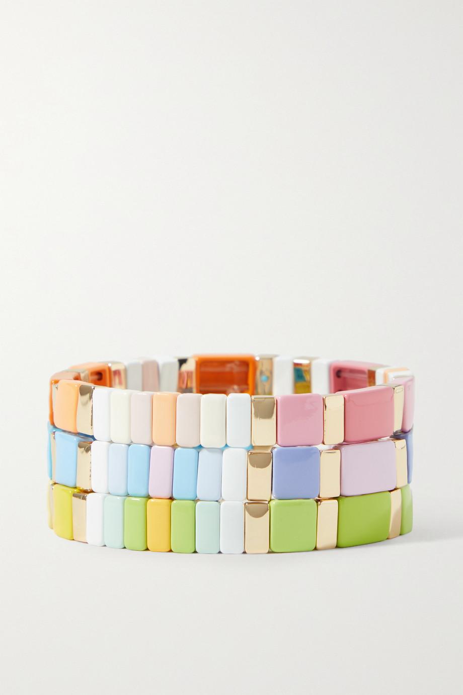 Roxanne Assoulin Set de trois bracelet en émail et métal doré Pastel Sport