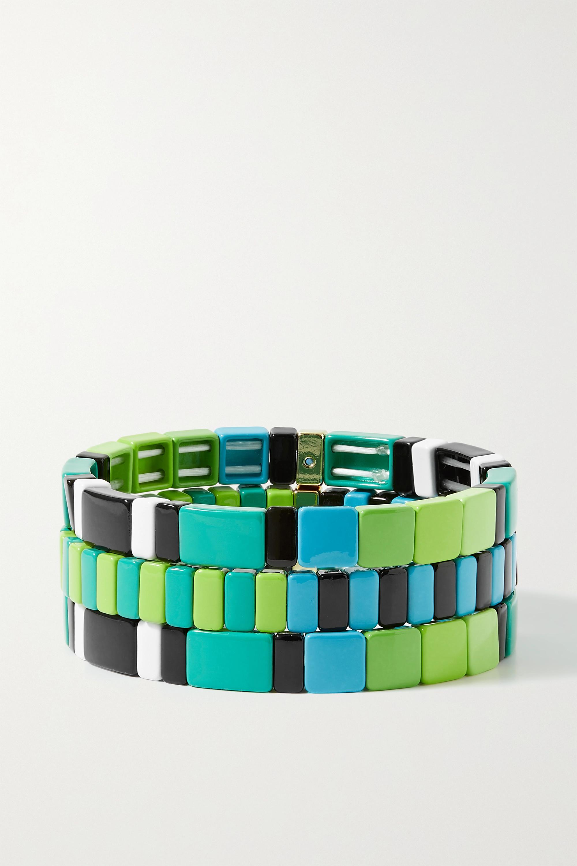 Roxanne Assoulin Set de trois bracelets en métal doré et émail