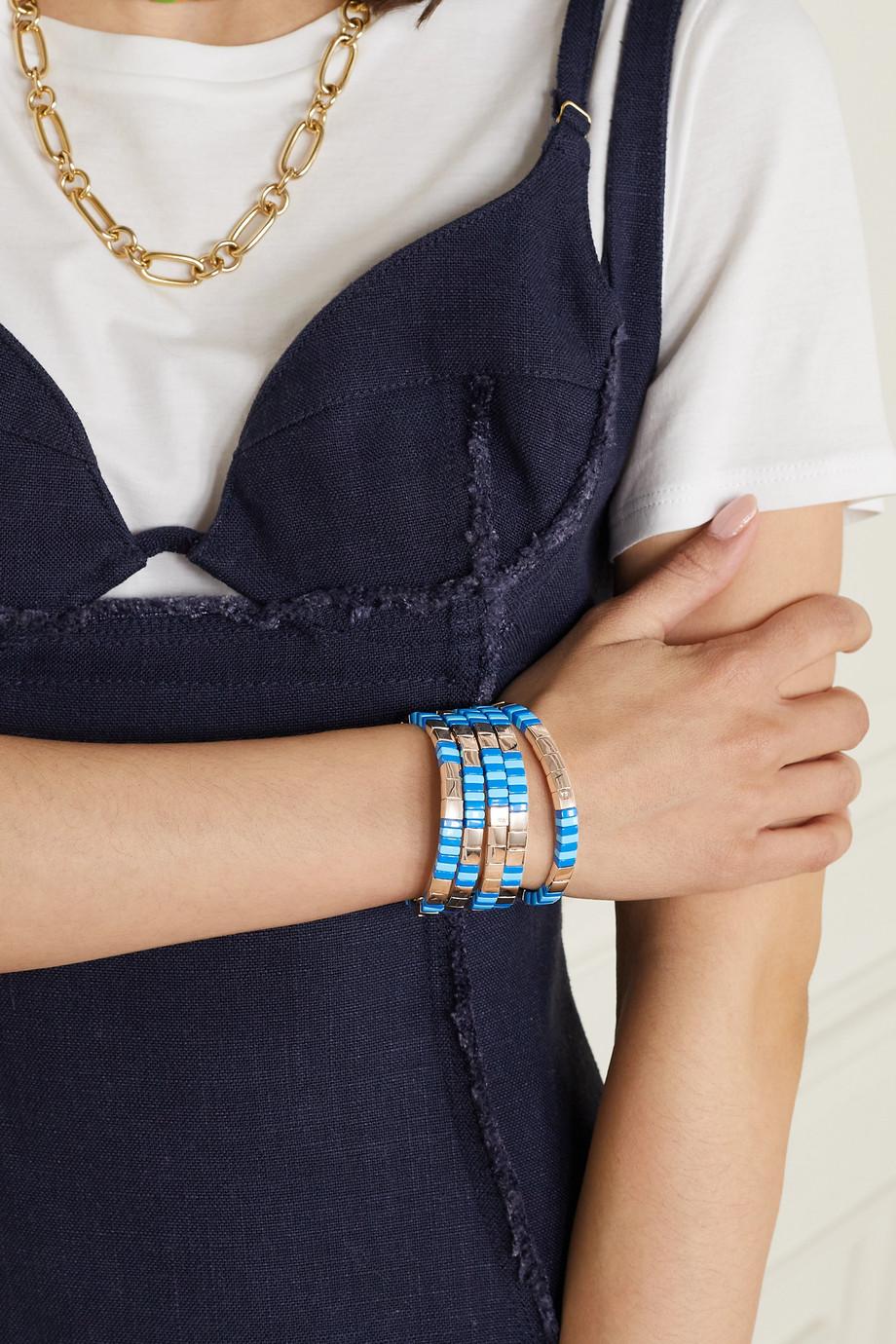 Roxanne Assoulin Set de cinq bracelets en émail et métal doré Varsity