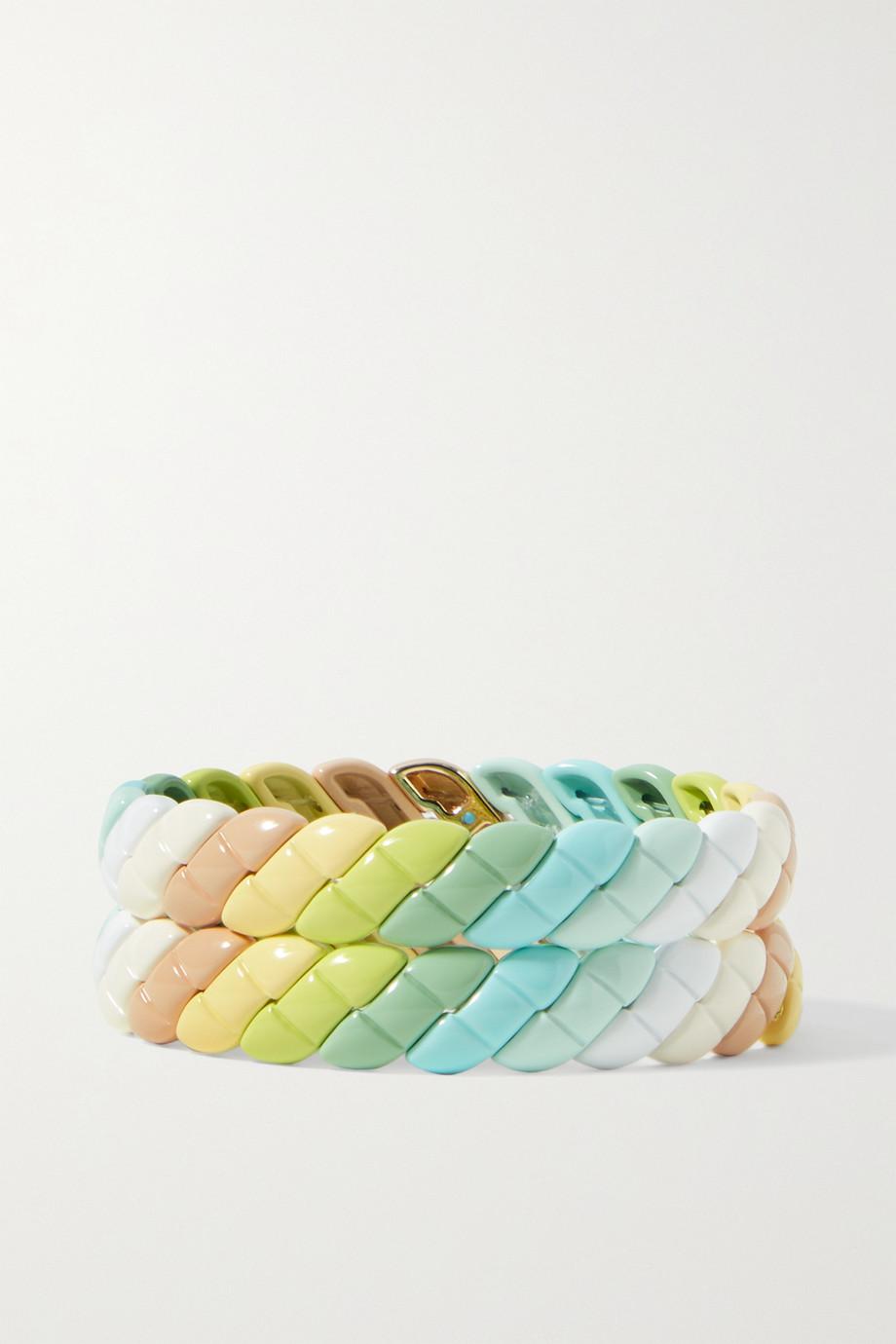 Roxanne Assoulin Set de deux bracelets en émail et métal doré gravés