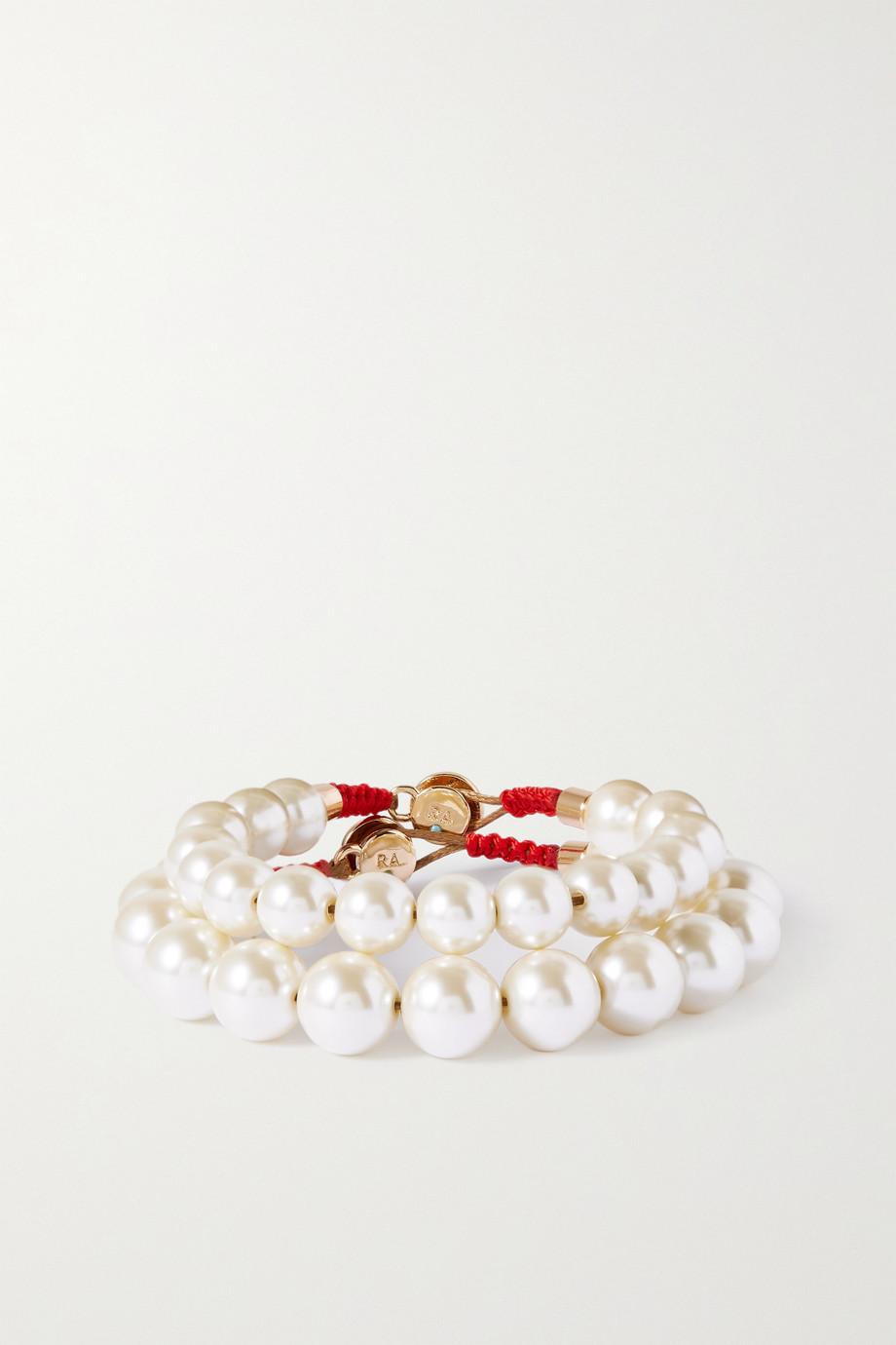 Roxanne Assoulin Set de deux bracelets en métal doré et perles synthétiques Pearly Whites