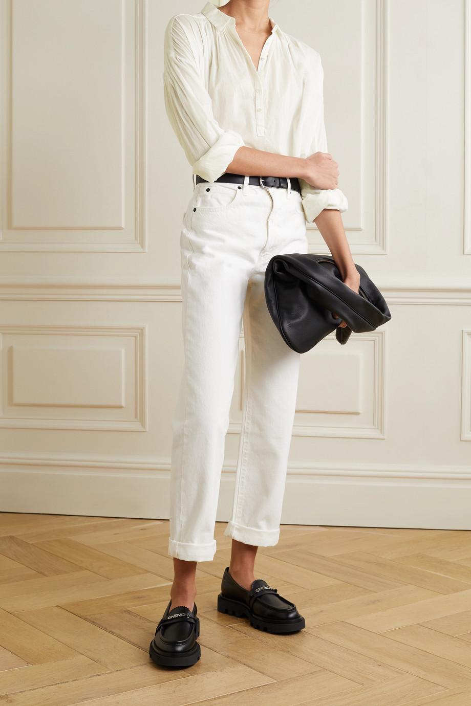 Nili Lotan Miles gathered cotton-voile blouse
