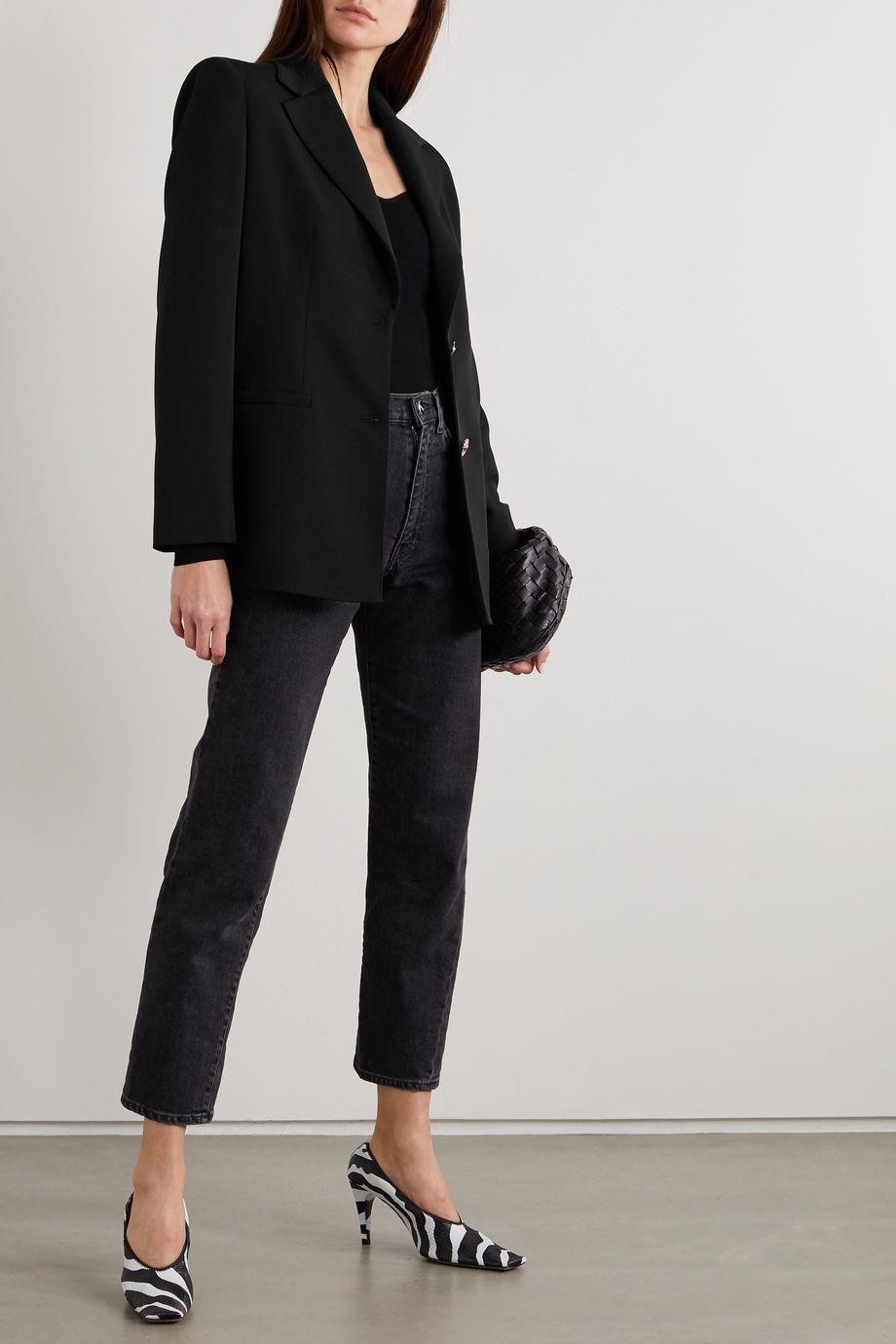 Versace Wool-blend grain de poudre blazer