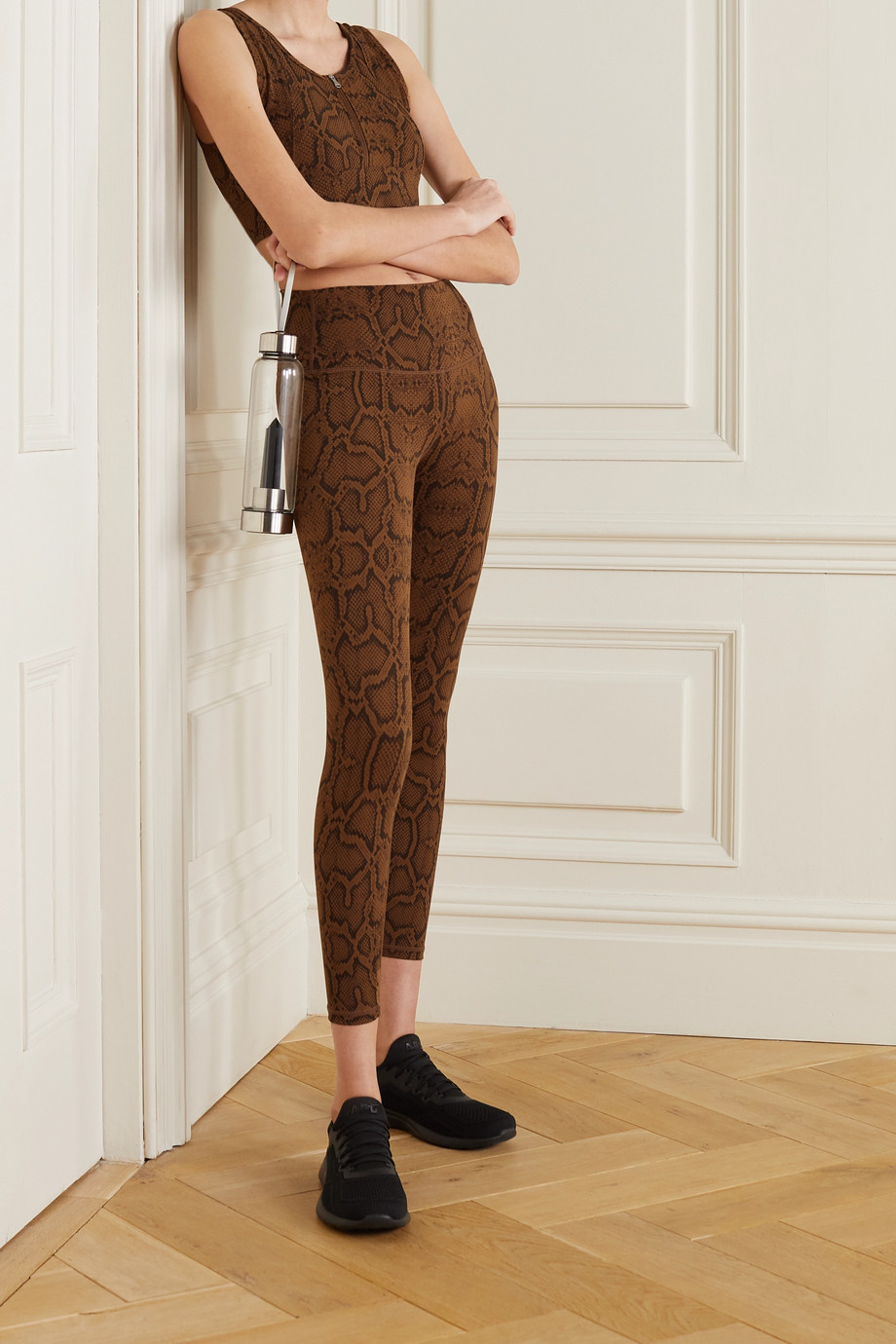 Varley Fay snake-print stretch sports bra