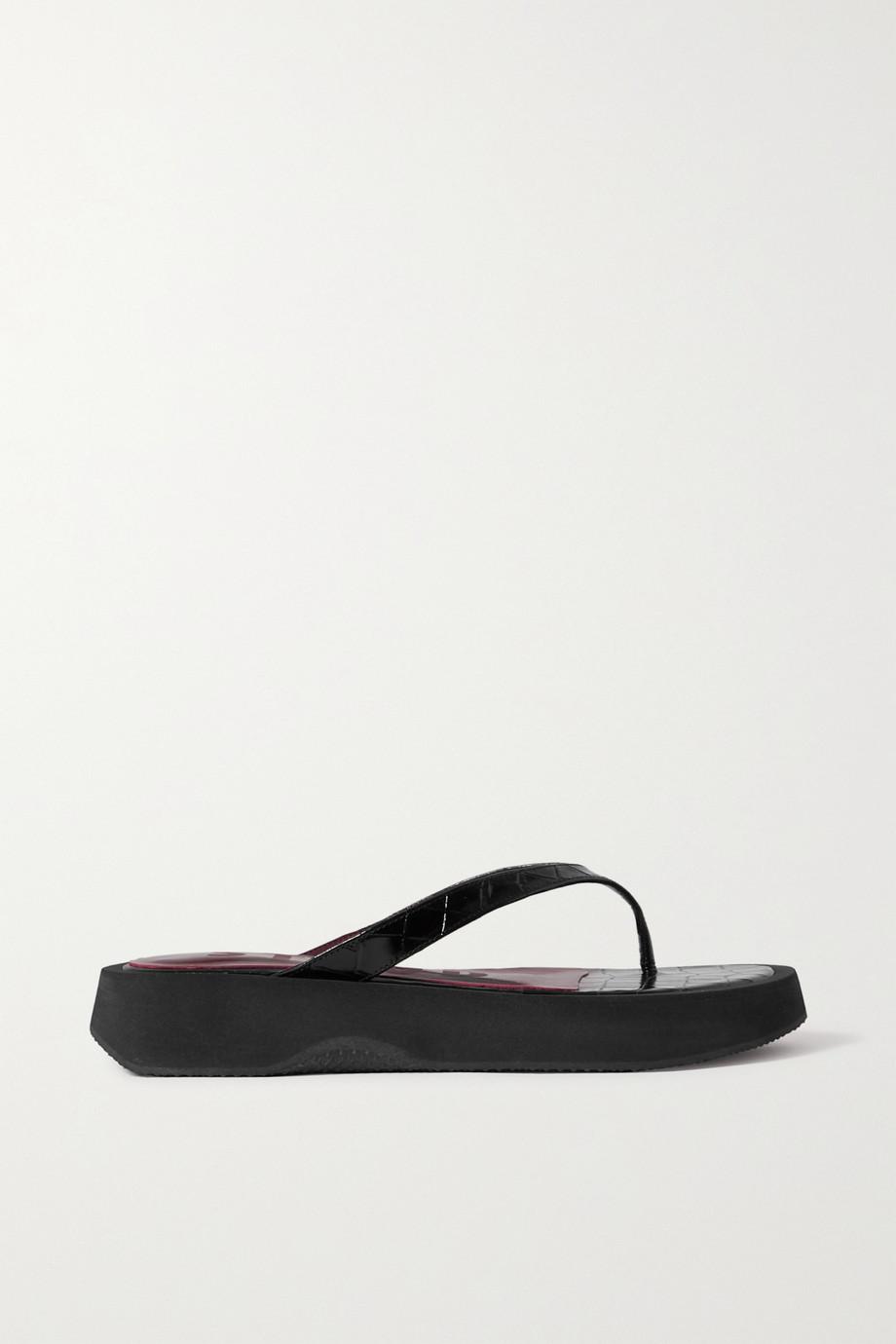 STAUD Tessa croc-effect leather platform flip flops