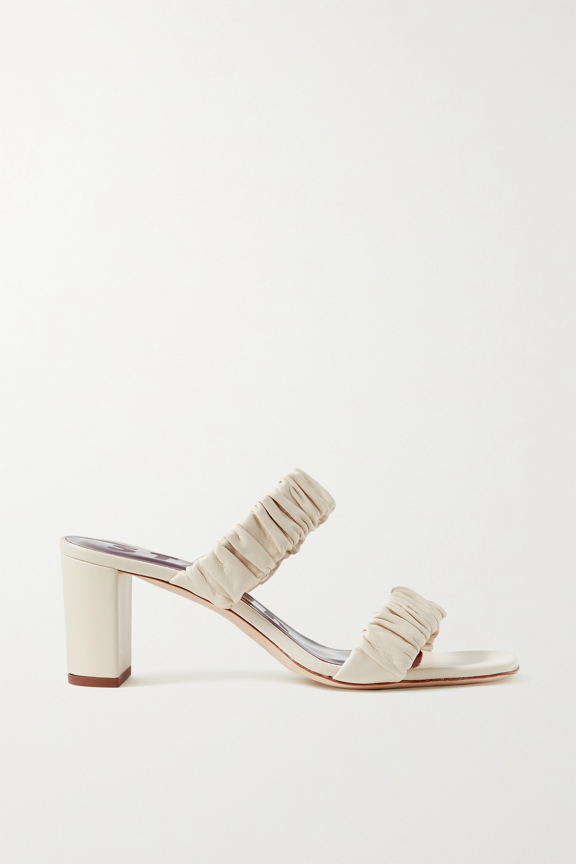 STAUD Frankie ruched leather sandals