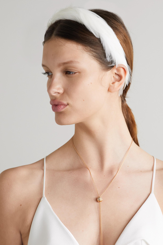 Gigi Burris Feather-embellished satin headband
