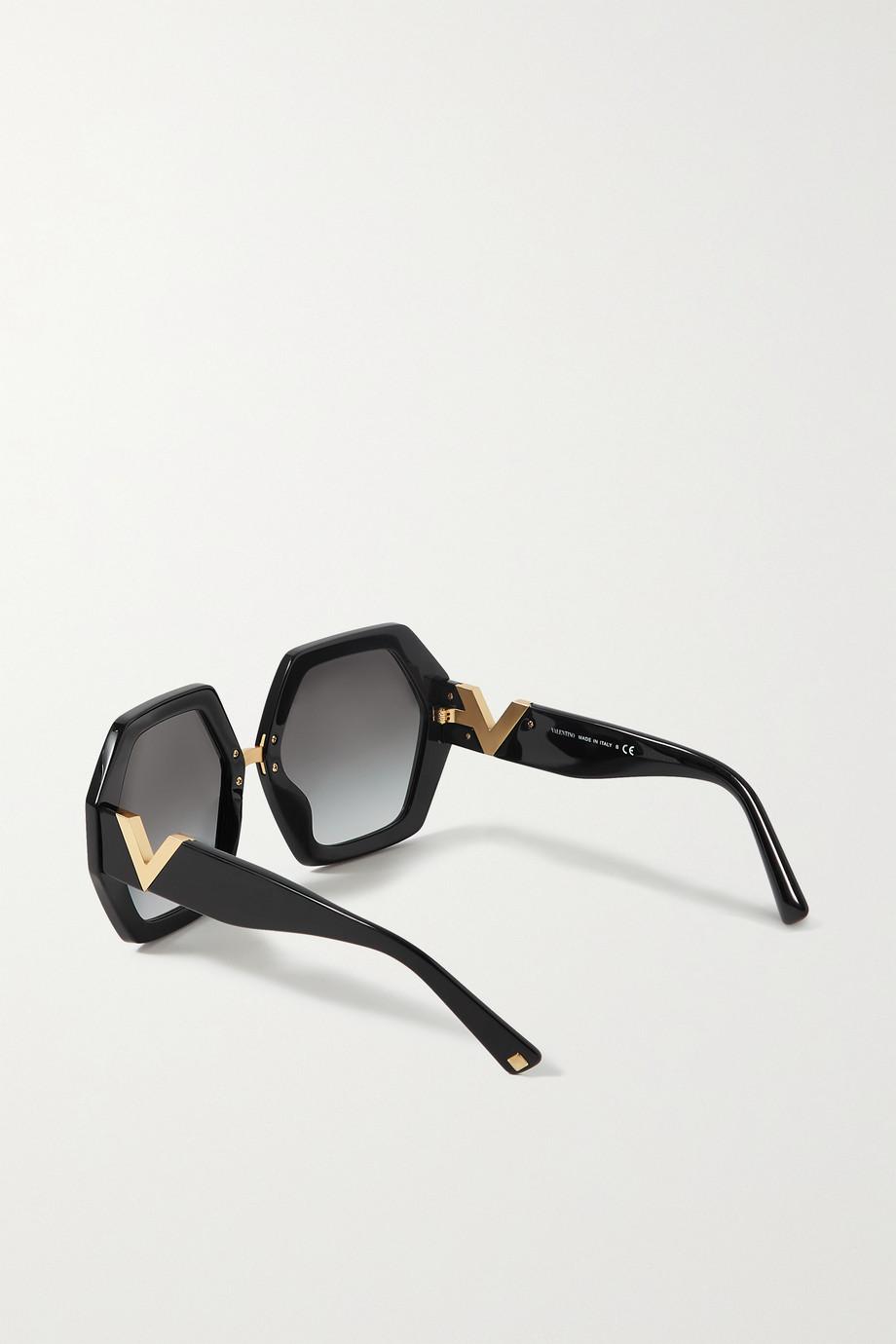 Valentino Valentino Garavani hexagon-frame acetate and gold-tone sunglasses