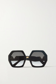 Valentino Valentino Garavani hexagon-frame acetate and gold-tone sunglasses