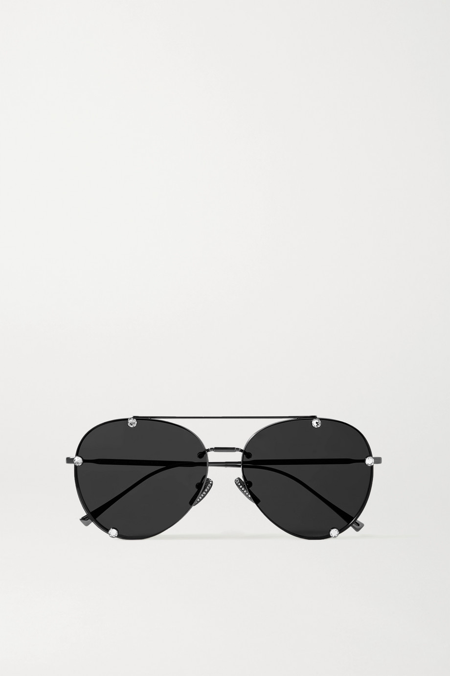 Valentino Valentino Garavani Glamtech aviator-style crystal-embellished gunmetal-tone sunglasses