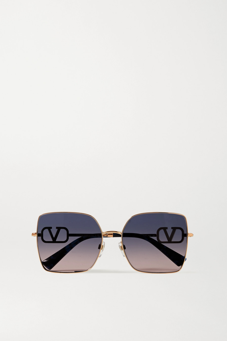 Valentino Valentino Garavani Allure VLOGO square-frame crystal-embellished rose gold-tone sunglasses