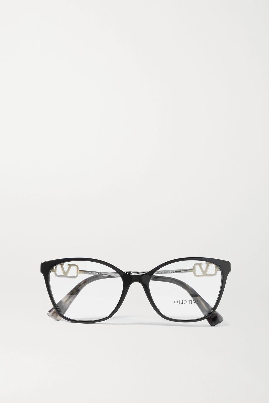 Valentino Valentino Garavani Allure round-frame crystal-embellished acetate and gold-tone optical glasses