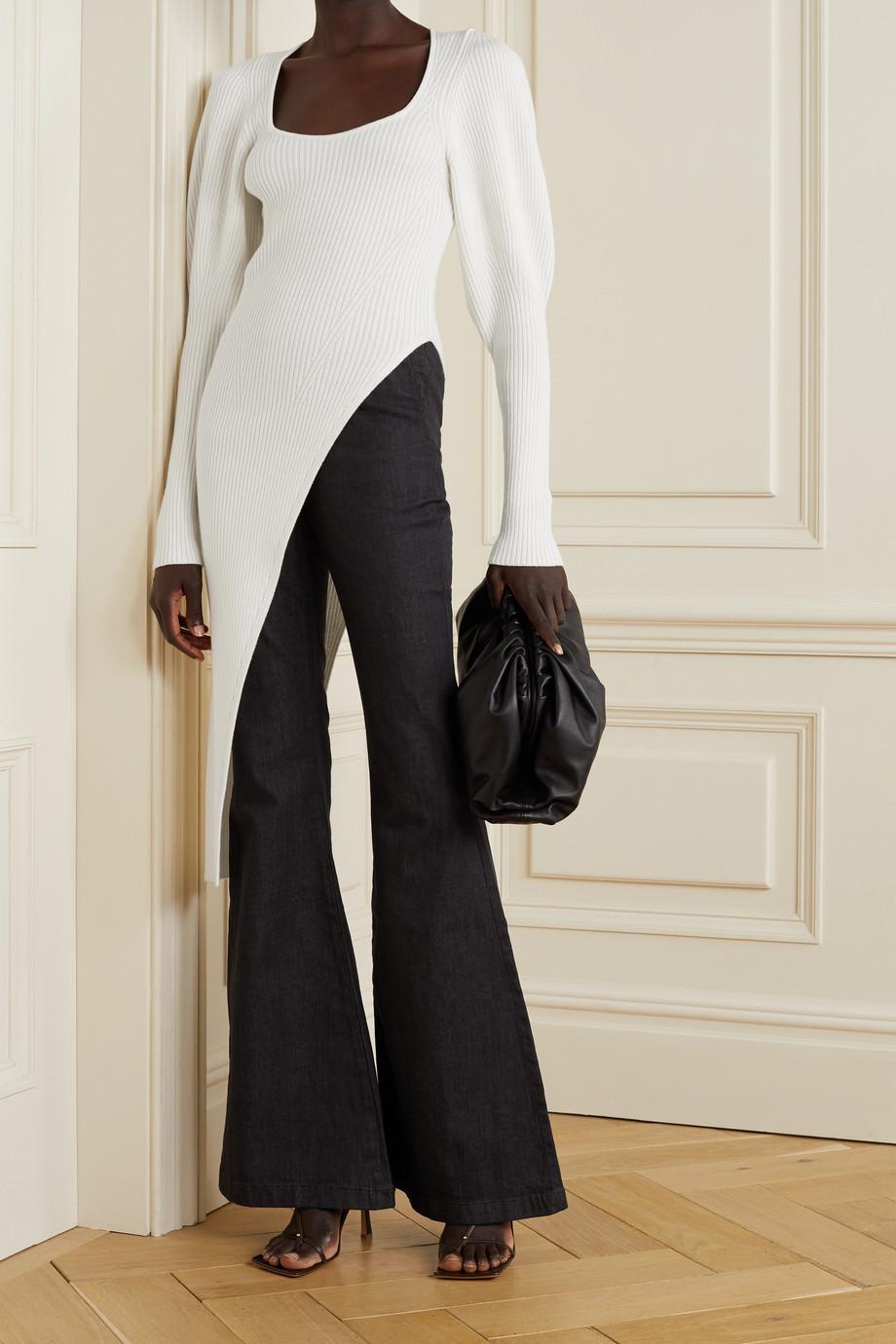 Safiyaa Louise asymmetrischer Pullover aus einer gerippten Wollmischung