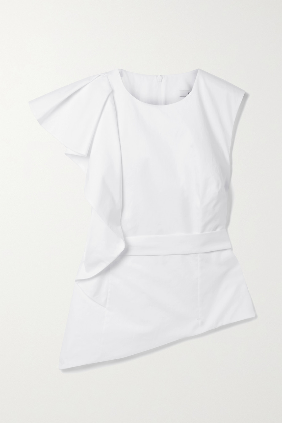 Safiyaa Mirla belted asymmetric ruffled cotton-poplin top