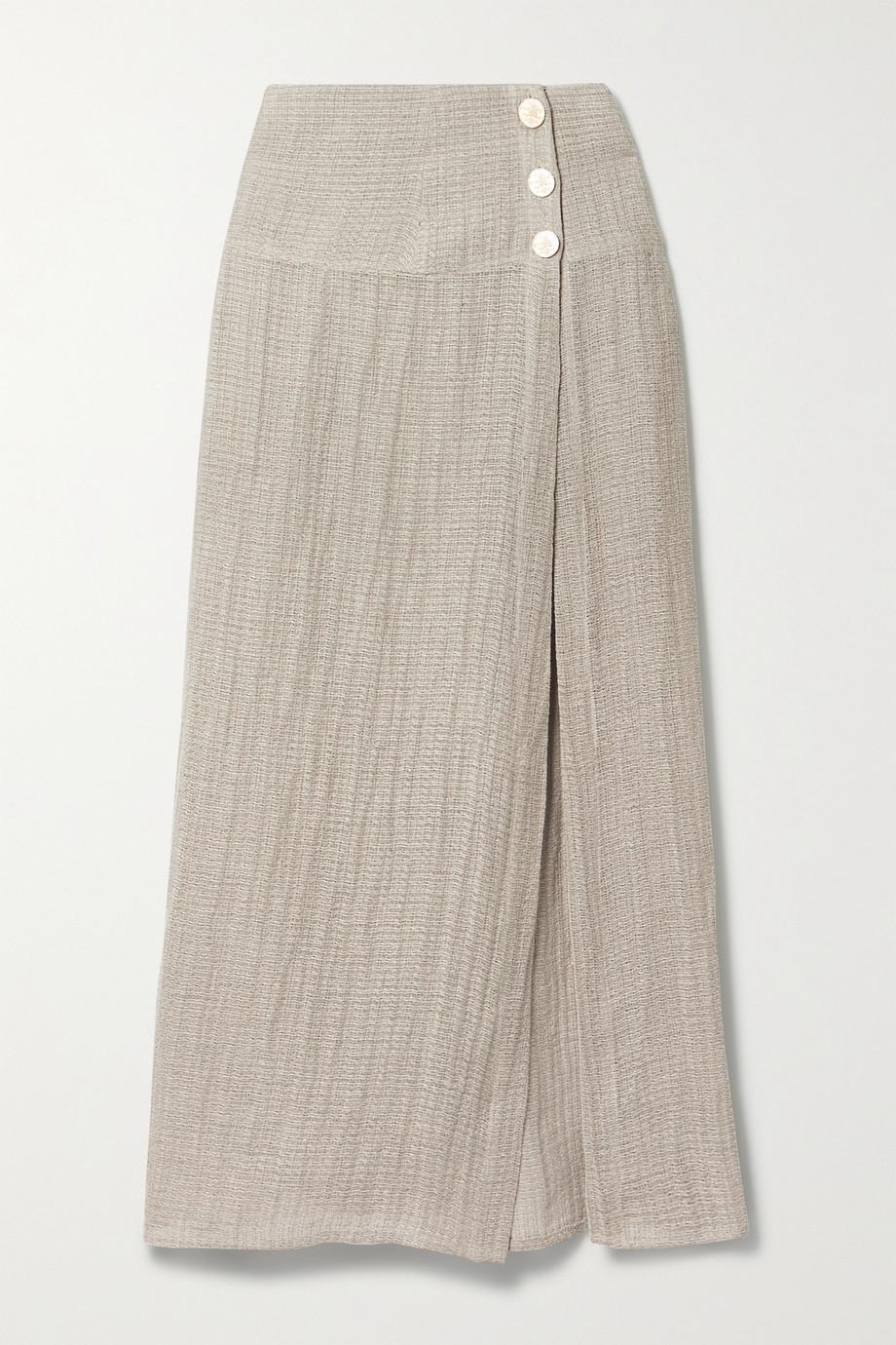 Le Kasha + NET SUSTAIN Haifa organic linen-gauze maxi skirt