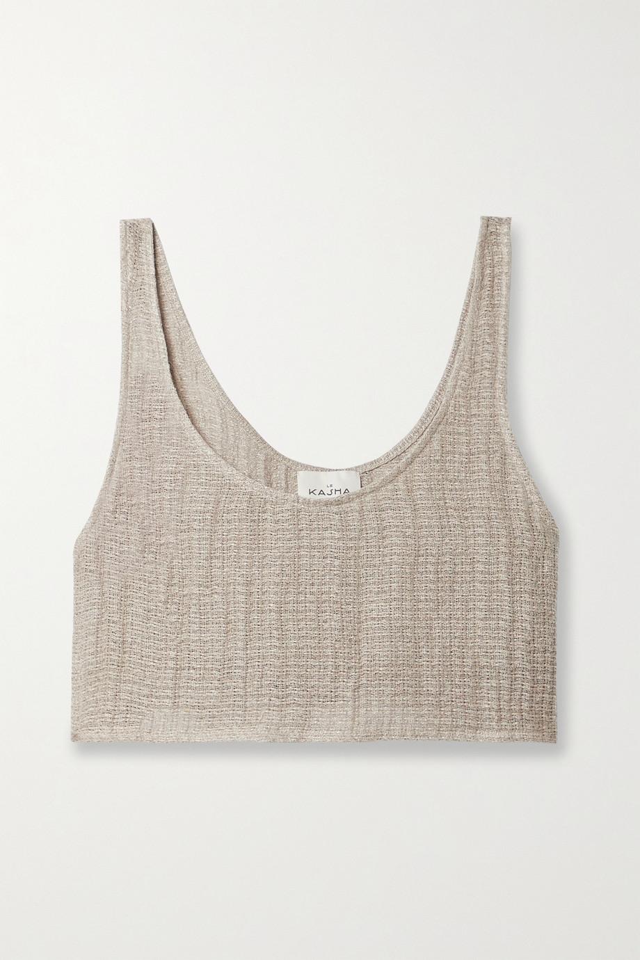 Le Kasha + NET SUSTAIN Tahta cropped organic linen-gauze top