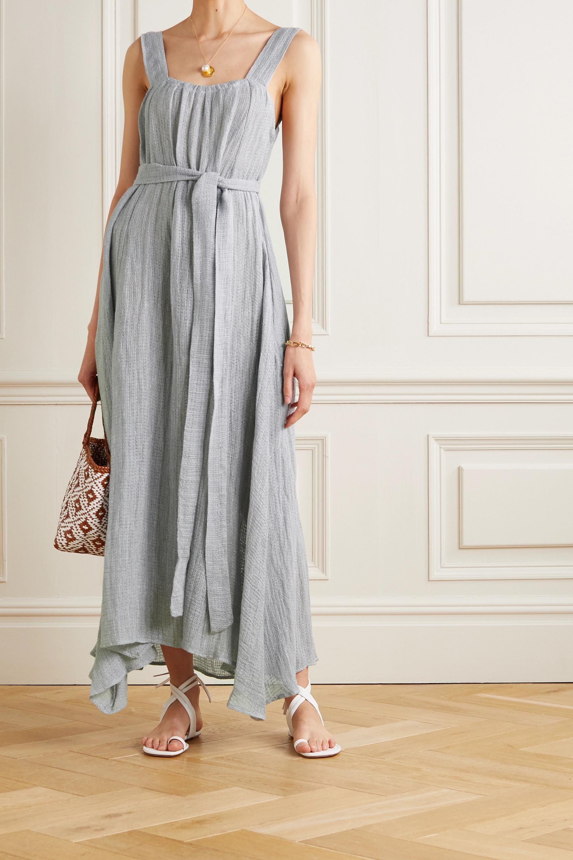 Le Kasha + NET SUSTAIN Assiout rückenfreies Kleid aus Bioleinen mit Bindegürtel