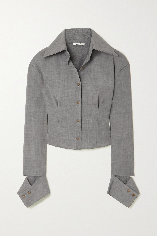 aaizél + NET SUSTAIN cropped wool-blend shirt