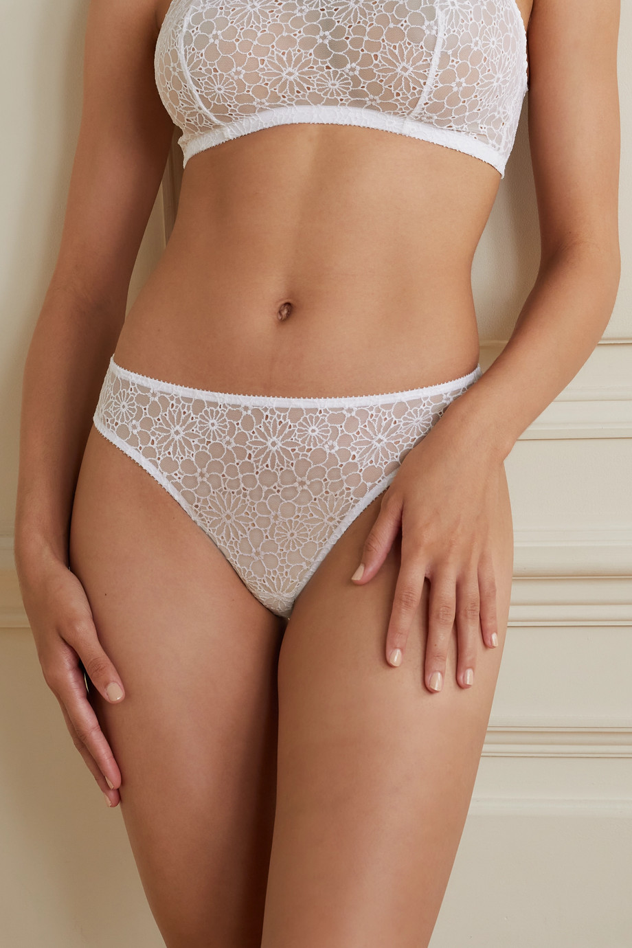Eres Orchidée embroidered stretch-tulle thong