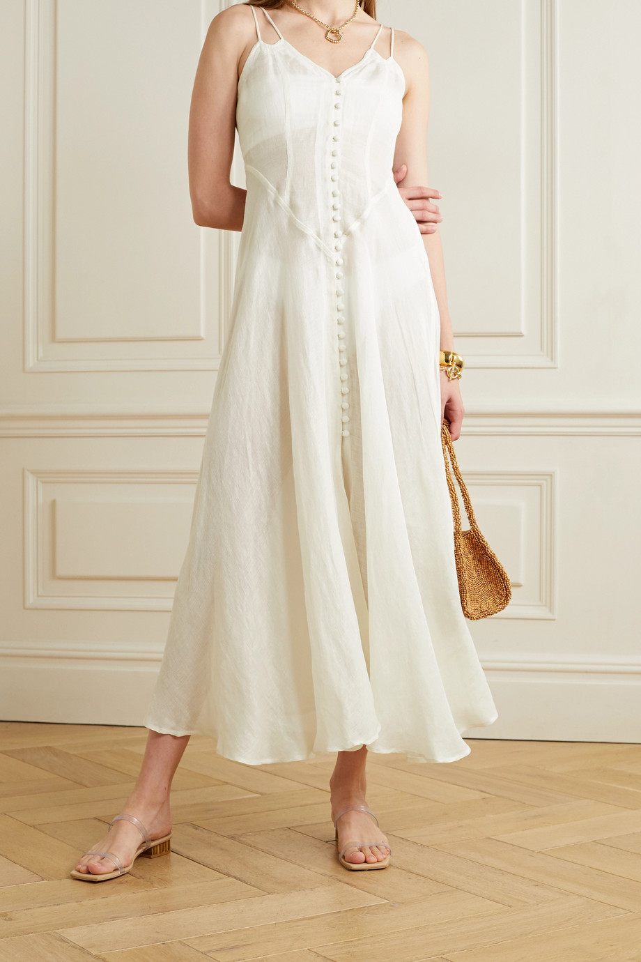Cult Gaia Tricia cotton-blend gauze maxi dress