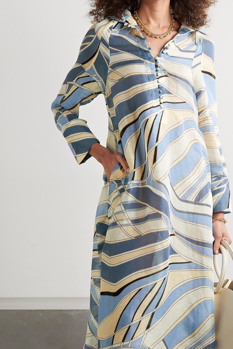 Cult Gaia Inga hooded printed cotton-blend gauze midi dress