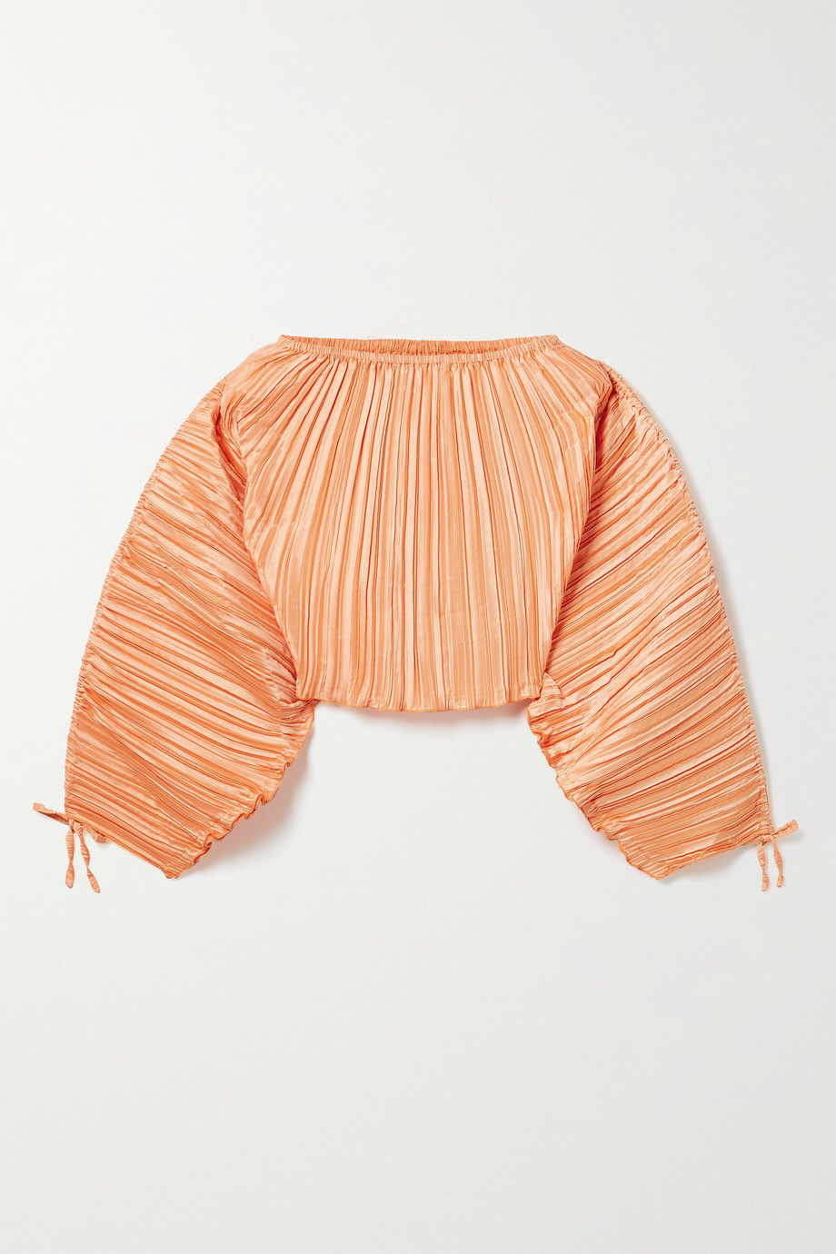Cult Gaia Mala cropped ruffled plissé-satin top