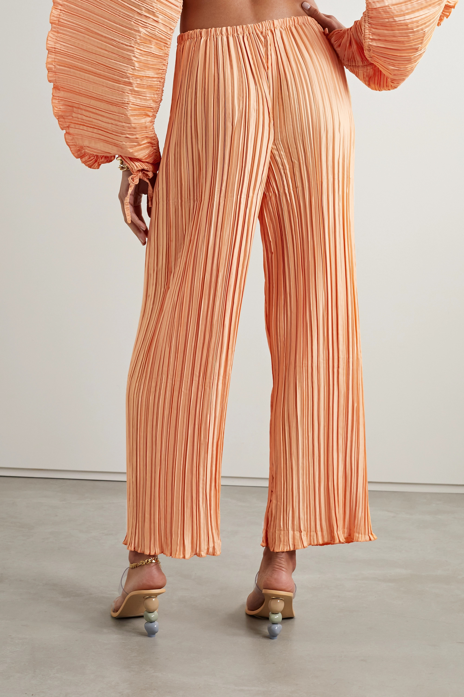 Cult Gaia Kersti plissé-satin wide-leg pants