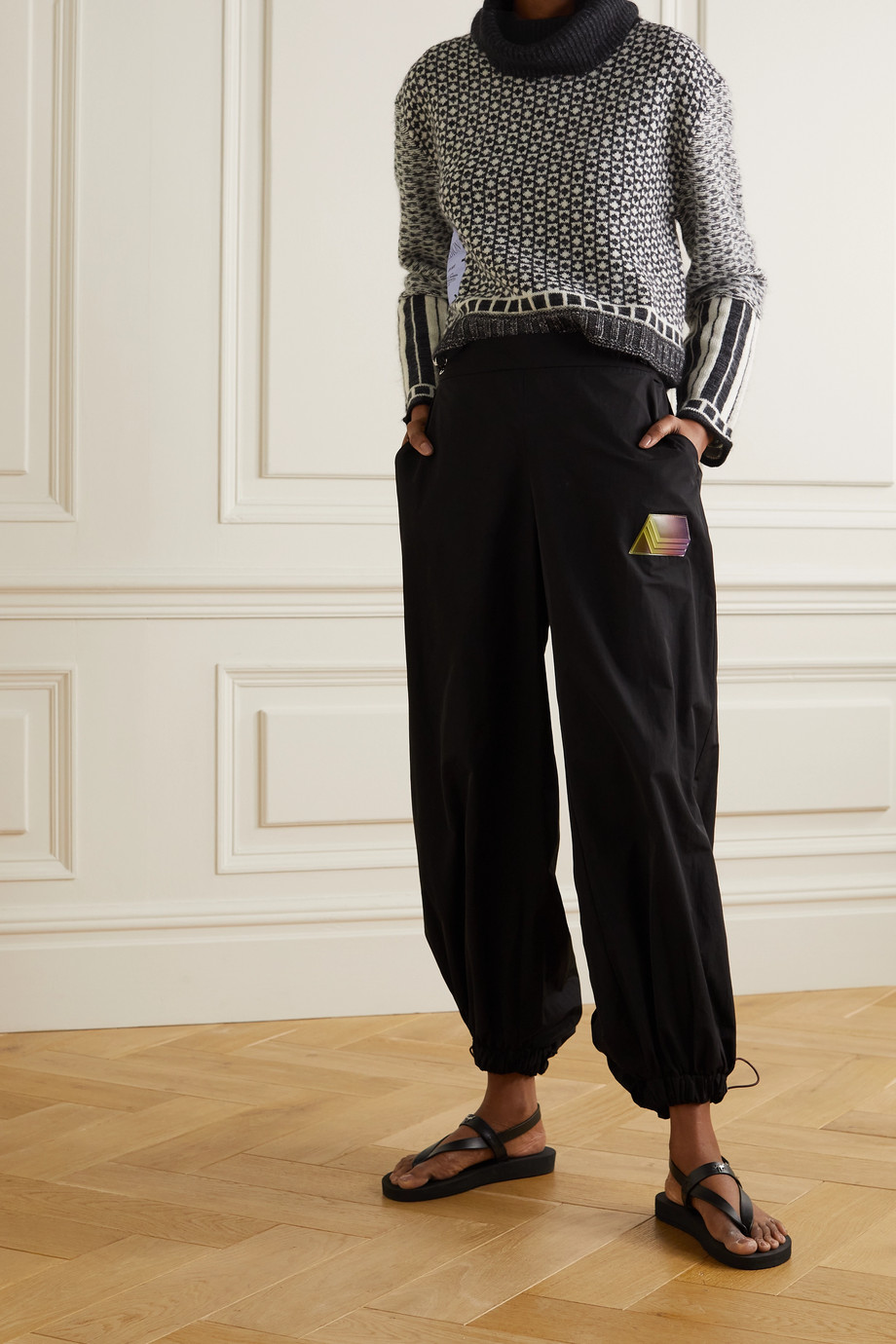 MCQ Appliquéd Fair Isle cropped knitted turtleneck sweater