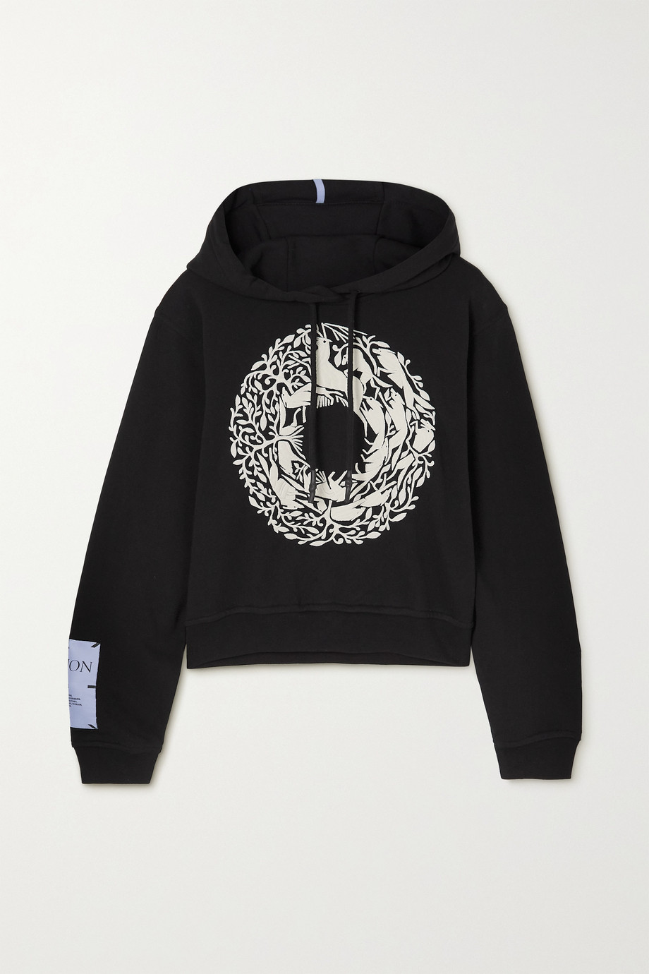 MCQ Walk of Life cropped appliquéd embroidered cotton-jersey hoodie