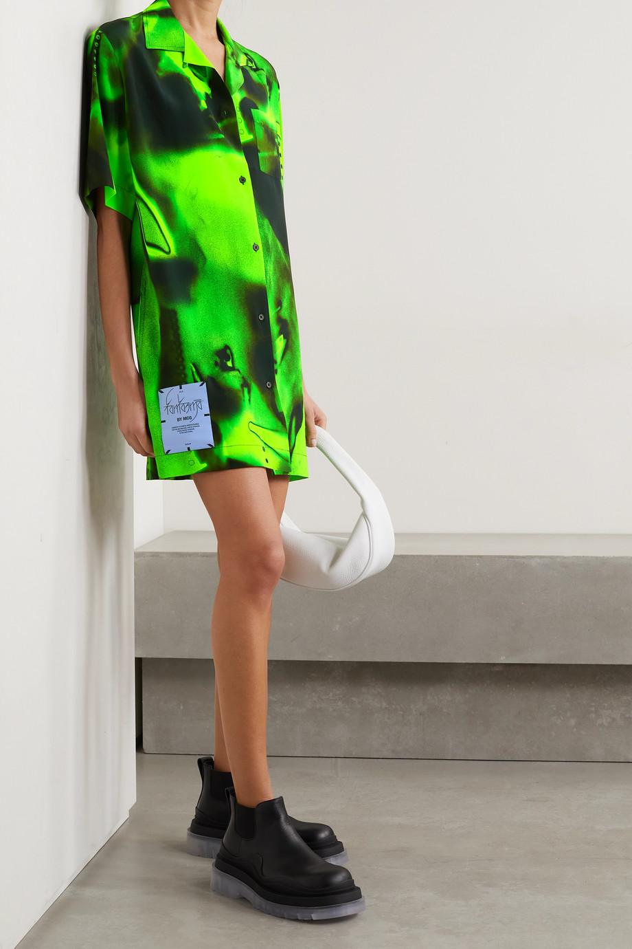 MCQ Fantasma appliquéd printed silk-crepe mini shirt dress