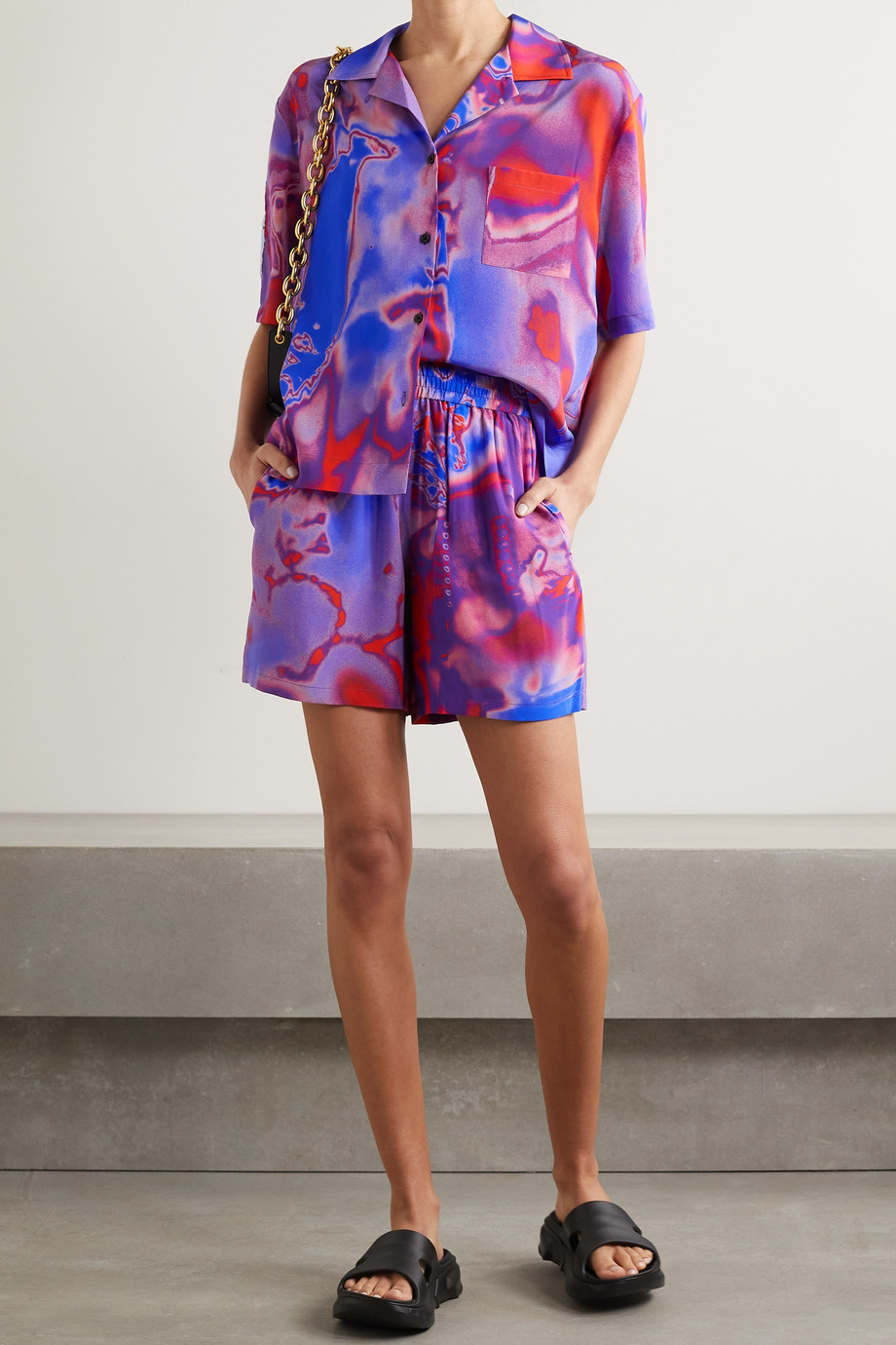 MCQ Fantasma appliquéd printed silk-crepe shorts