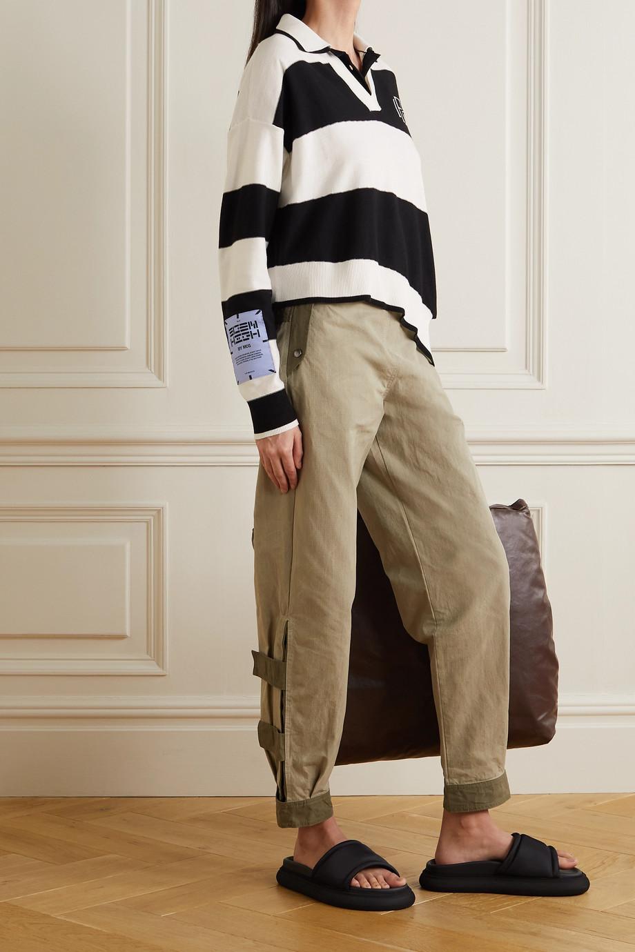 MCQ Eden High asymmetric appliquéd striped cotton polo shirt