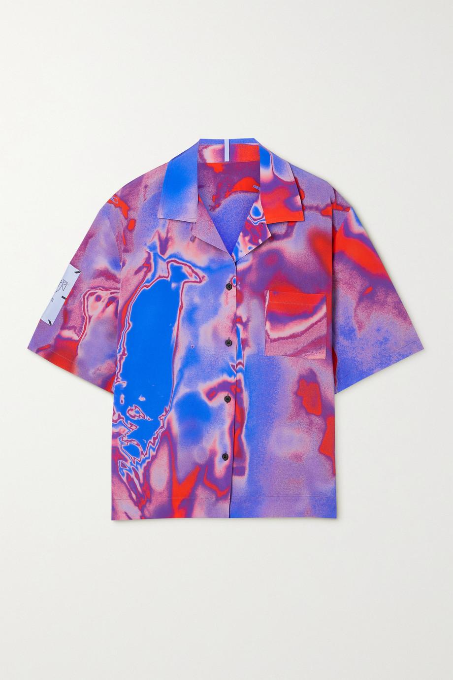 MCQ Fantasma appliquéd printed silk-crepe shirt