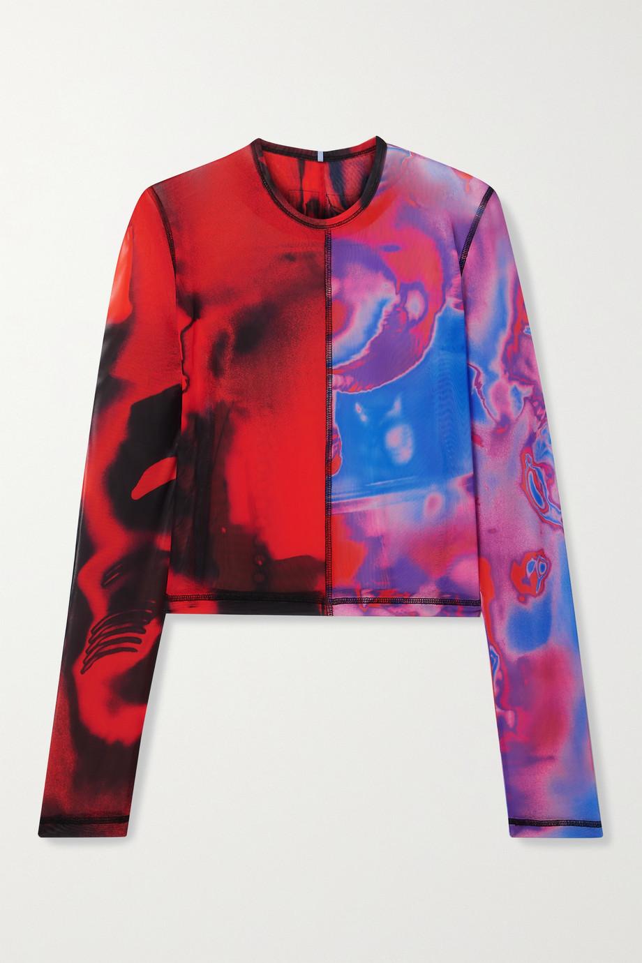 MCQ Fantasma cropped printed stretch-mesh top