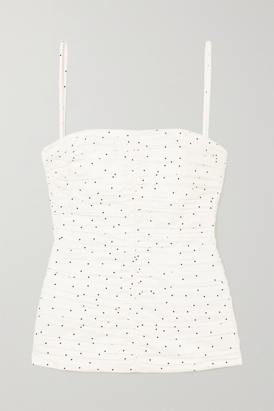 TOVE Vivian ruched polka-dot organic cotton top