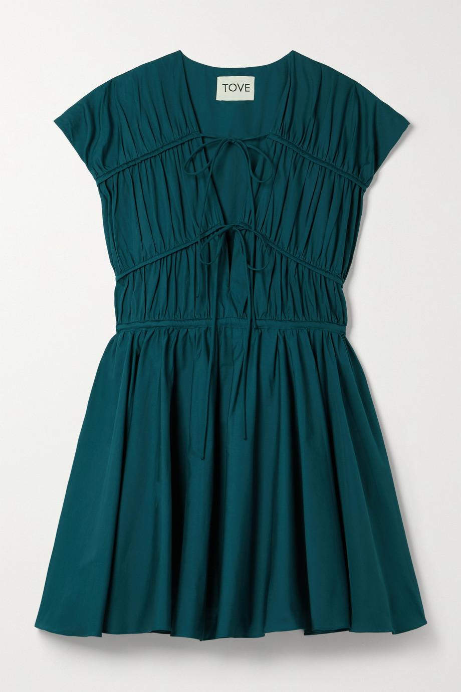 TOVE Clara gathered organic cotton-poplin mini dress