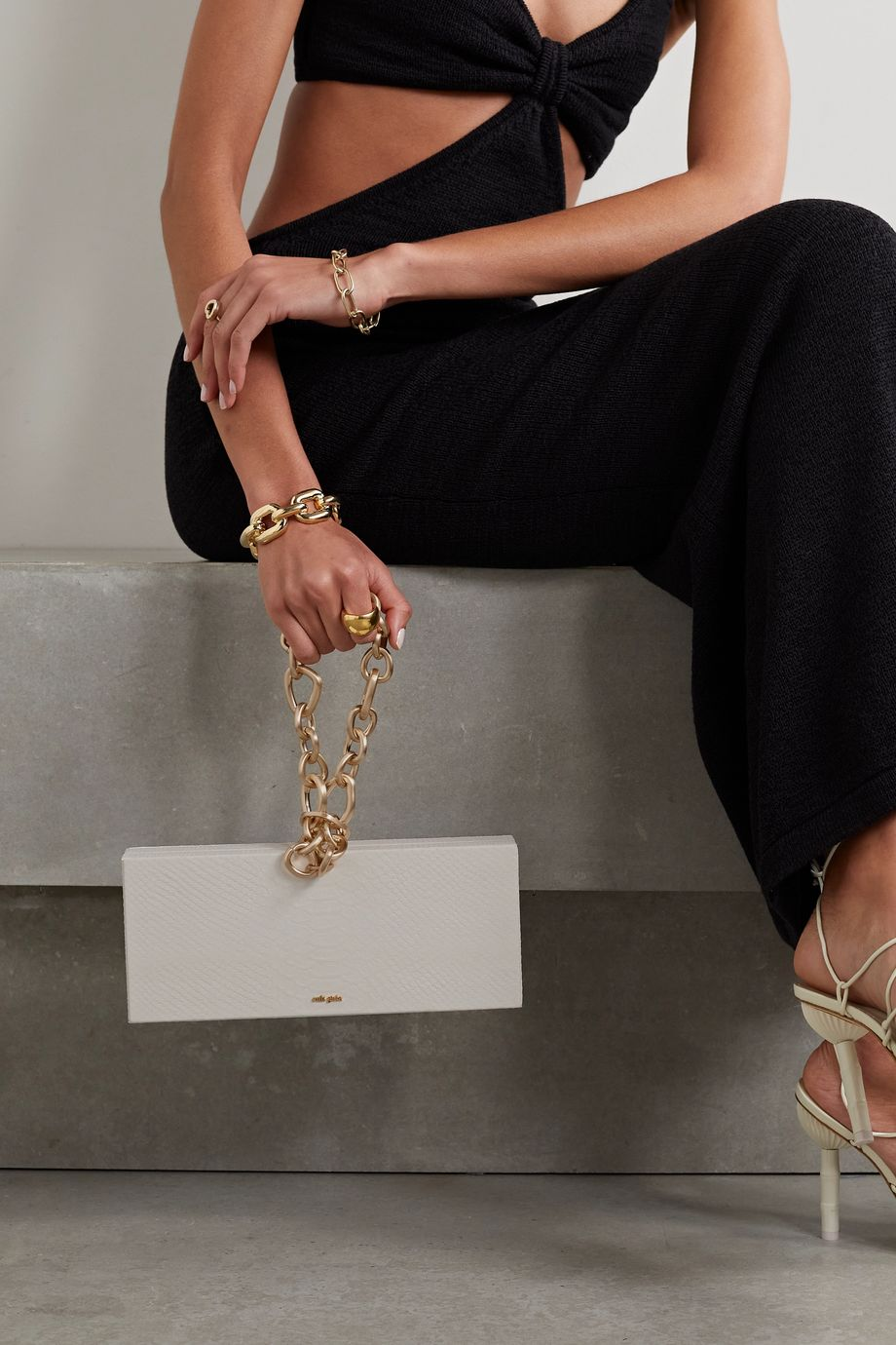 Cult Gaia Calla chain-embellished snake-effect leather clutch