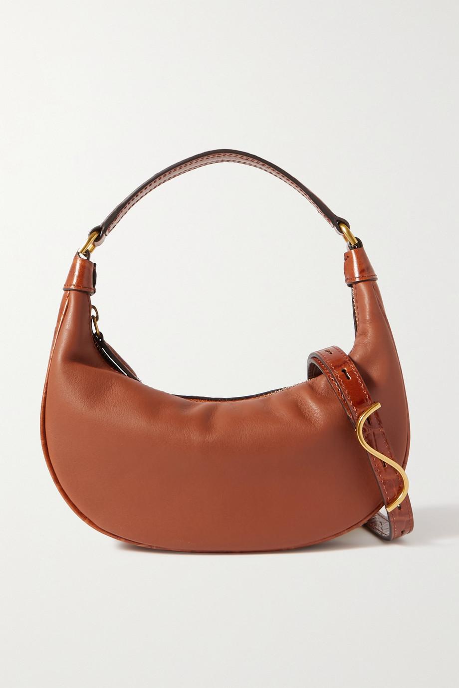 STAUD Sasha mini smooth and croc-effect leather shoulder bag