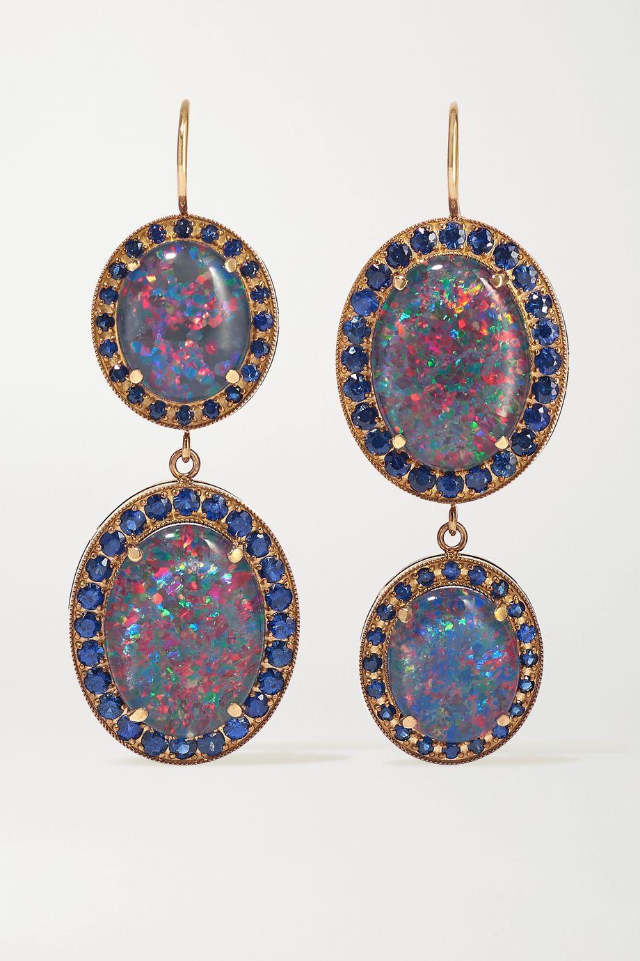 Andrea Fohrman 18-karat rose gold, opal doublets and sapphire earrings