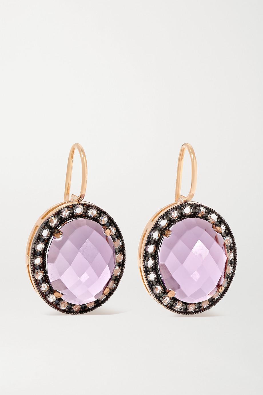 Andrea Fohrman 18-karat rose gold, amethyst and diamond earrings