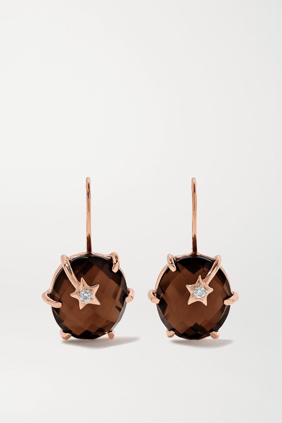 Andrea Fohrman Mini Galaxy 18-karat rose gold, quartz and diamond earrings